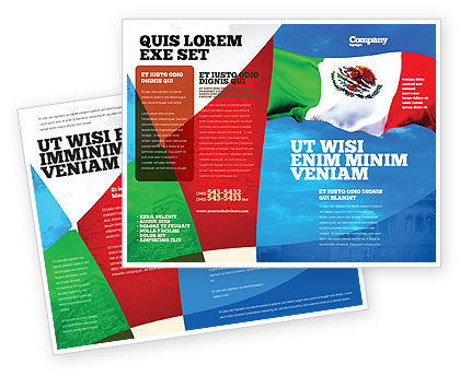 Mexican flag brochure template design and layout download for Mexico brochure template