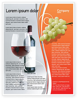Bottle of Wine Flyer Template, Background in Microsoft Word, Publisher