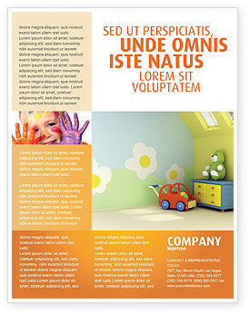 Day nurseries flyer template background in microsoft word for Nursery brochure templates free