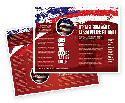 Torn flag brochure template design and layout download for America brochure template