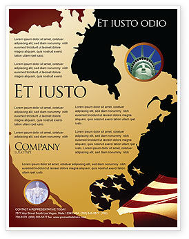 america brochure template - old glory usa flag flyer template background in microsoft