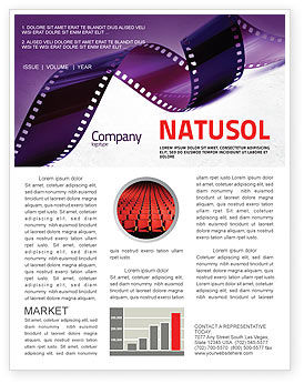 Film strip in purple color newsletter template for for Movie brochure template