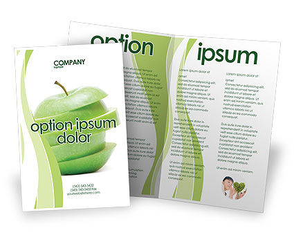 Sliced green apple brochure template design and layout for Apple brochure templates