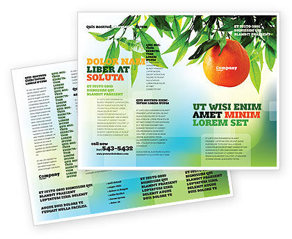 Orange tree brochure template design and layout download for Agriculture brochure templates