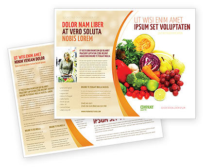 Fruits and vegetables brochure template design and layout for Nutrition brochure template