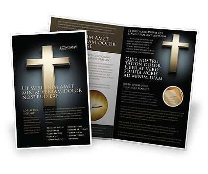 christian brochure templates - cross in the dark brochure template design and layout