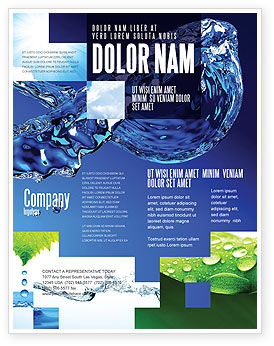Blue water flyer template background in microsoft word for Water brochure template