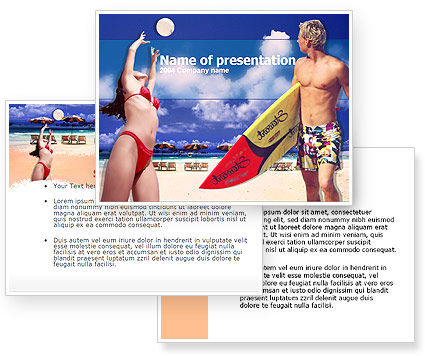 Free Surfing Beach PowerPoint Template #00201
