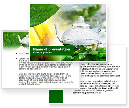 Green Tea PowerPoint Template #00877