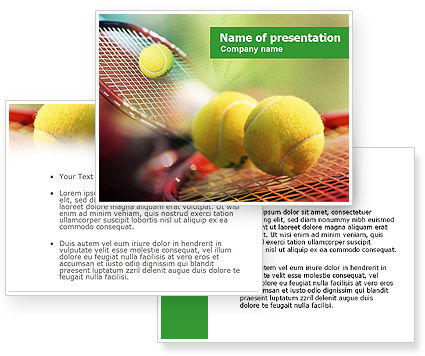 Tennis Balls And Rackets PowerPoint Template #01186