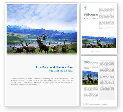 Deers On The Mountain Pastures Word Template #01850