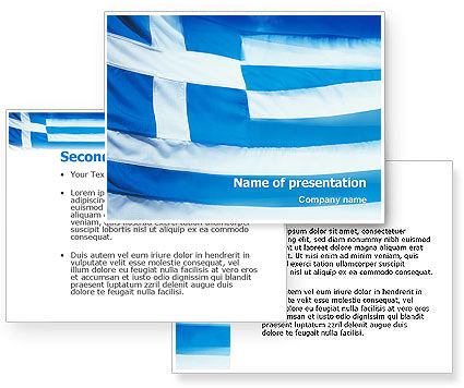 greek flag template - flag of greece powerpoint template