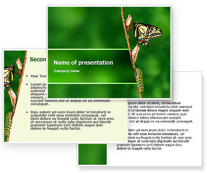 Butterfly And Caterpillar PowerPoint Template #02471