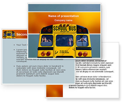 School Bus Aft PowerPoint Template #02587