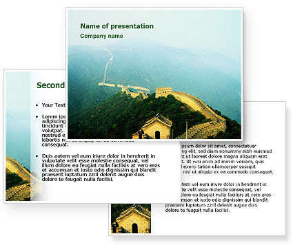 Fragment Of Great Wall of China PowerPoint Template #02712
