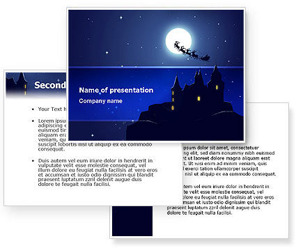 Santa's Sleigh On The Background Of The Moon PowerPoint Template #02850