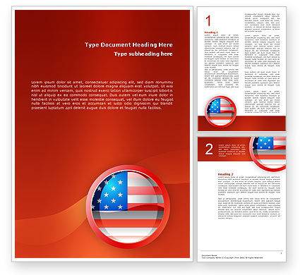 US Flag Word Template #02905