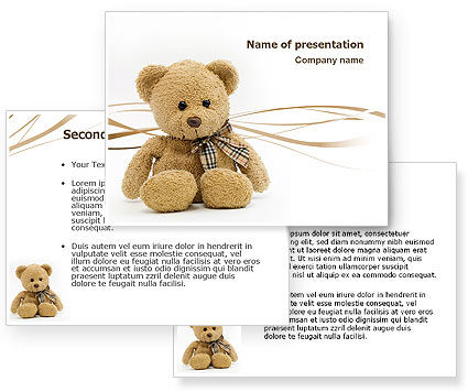 Teddy Bear On A White Background PowerPoint Template | PowerPoint ...