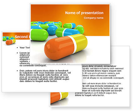 colored pills powerpoint template 3 backgrounds 3 masters 20 slides. Black Bedroom Furniture Sets. Home Design Ideas
