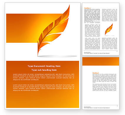 Feather In Orange Color Word Template 04049