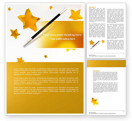Magic Wand And Magician's Hat Word Template | PoweredTemplate.com
