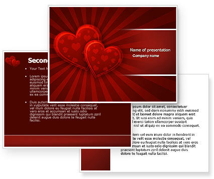 Red Hearts PowerPoint Template #04444