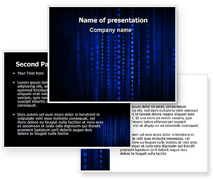 Blue Binary Code PowerPoint Template #06362