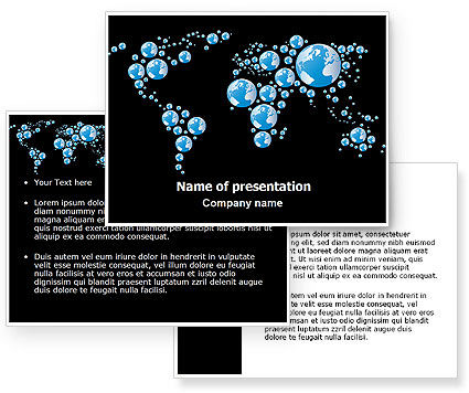 Bubble World Map PowerPoint Template #07485
