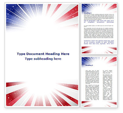 American Flag Stylized Word Template #09079