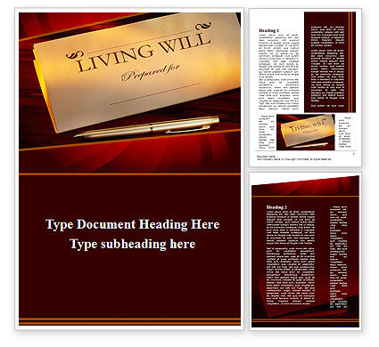 Living Will Word Template #09676