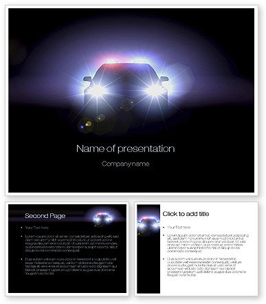 police car at night powerpoint template poweredtemplate