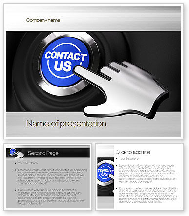 Contact us button powerpoint template poweredtemplate for Contact us template free download