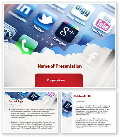 social media applications powerpoint template 3 backgrounds 3 masters. Black Bedroom Furniture Sets. Home Design Ideas