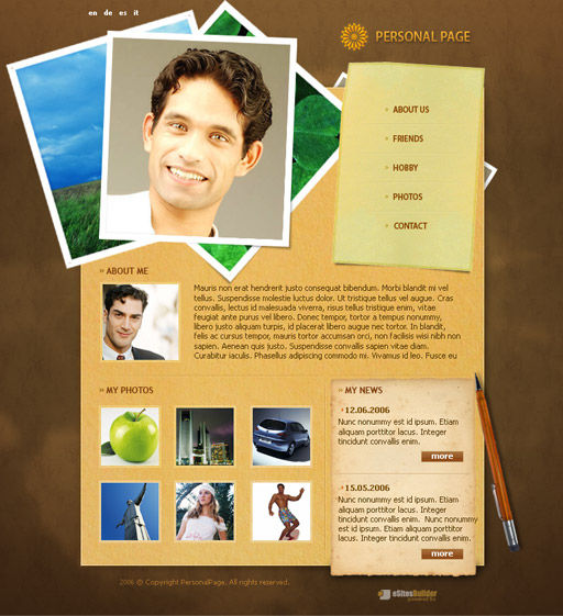 Male Photomodel Personal Web Page Template PoweredTemplatecom lr4RemDJ