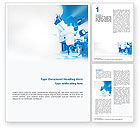 Technology, Science & Computers: Electronic Microscope In Blue Colors Word Template #01729