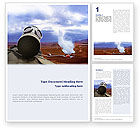 Utilities/Industrial: Gas-Mask on Chemical Landfill Word Template #01787