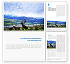Deers On The Mountain Pastures Word Template #01850 - small preview