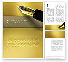 Fountain Pen On The Light Gold Word Template