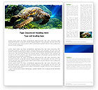 Sea Turtle Word Template #05237 - small preview