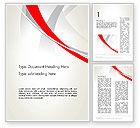 Abstract Gray and Red Curves Word Template