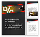 Financial/Accounting: Businessman Pilling Percent Sign Word Template #14212
