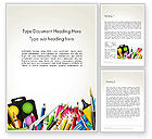 Education & Training: School Background with School Supplies Word Template #14213