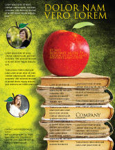 College: Apple and Books Flyer Template #06997