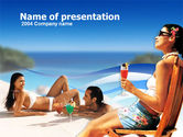 Health and Recreation: Cocktail On The Beach PowerPoint Template #00252