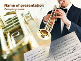 Musical+instruments+templates: Trumpet In A Symphony Orchestra PowerPoint Template #00743