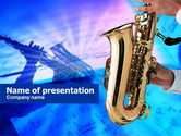 Musical+instruments+templates: Jazz Saxophone PowerPoint Template #00757