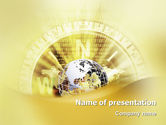 Global: Globe On A Compass PowerPoint Template #02200