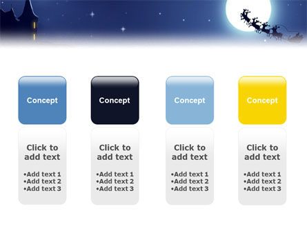 Santa's Sleigh On The Background Of The Moon PowerPoint Template Slide 5