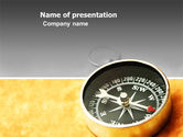 Business Concepts: Pocket Compass On The Table PowerPoint Template #03370