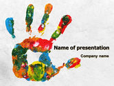 Education & Training: Colorful Hand Print PowerPoint Template #07840